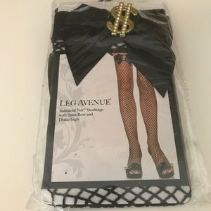 Leg Avenue Fishnet Stockings with Bow and $ Sign